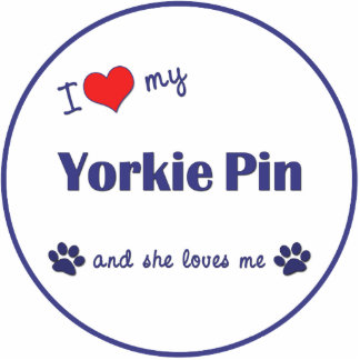 I Love My Yorkie Pin (Female Dog) Photo Cut Outs