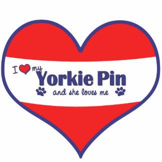 I Love My Yorkie Pin (Female Dog) Photo Sculpture