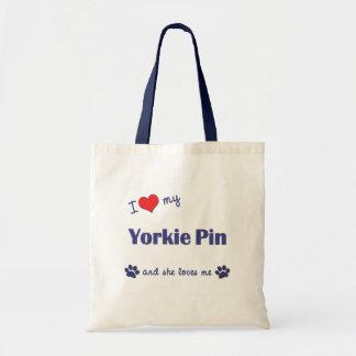 I Love My Yorkie Pin (Female Dog) Tote Bags