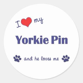 I Love My Yorkie Pin (Male Dog) Classic Round Sticker