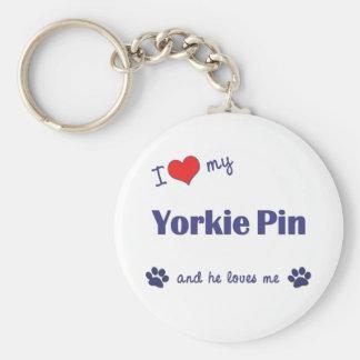 I Love My Yorkie Pin (Male Dog) Key Chain