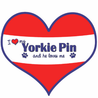 I Love My Yorkie Pin (Male Dog) Photo Cutout