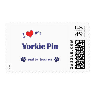 I Love My Yorkie Pin (Male Dog) Postage Stamps