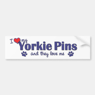I Love My Yorkie Pins (Multiple Dogs) Bumper Sticker