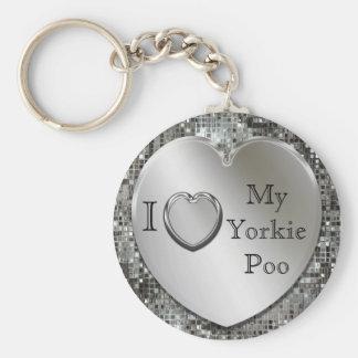 I Love My Yorkie Poo Heart Keychain