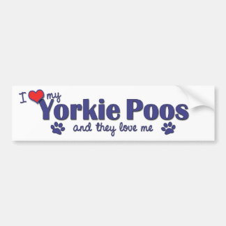 I Love My Yorkie Poos (Multiple Dogs) Car Bumper Sticker