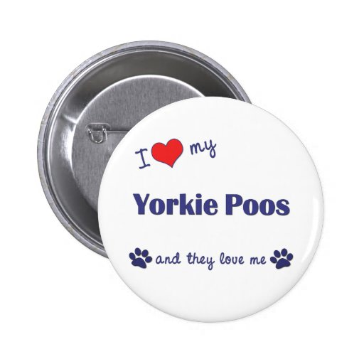I Love My Yorkie Poos (Multiple Dogs) Button