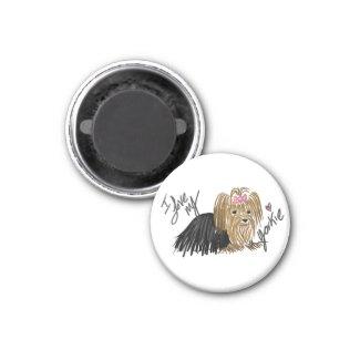 I Love My Yorkie round refrigerator magnet