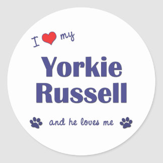 I Love My Yorkie Russell (Male Dog) Classic Round Sticker