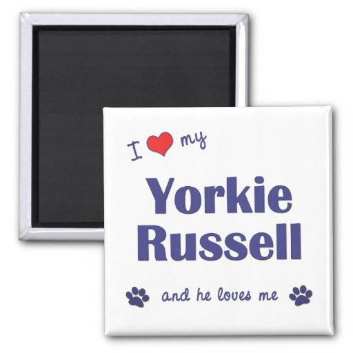I Love My Yorkie Russell (Male Dog) Refrigerator Magnets