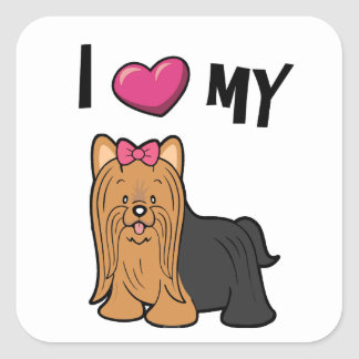 I love my Yorkie Square Sticker