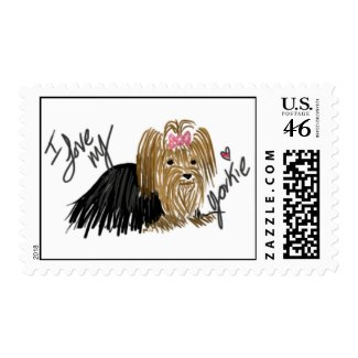 I Love My Yorkie Yorkshire Terrier Postage stamps