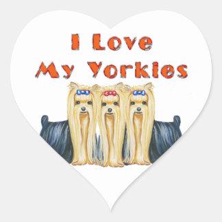 I Love My Yorkies Art Design Stickers Tags