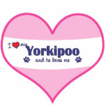 I Love My Yorkipoo (Male Dog) Photo Sculptures