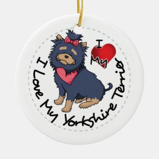 I-Love-My-Yorkshire-Terrier Ceramic Ornament