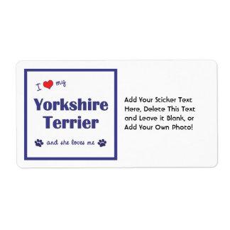 I Love My Yorkshire Terrier (Female Dog) Label