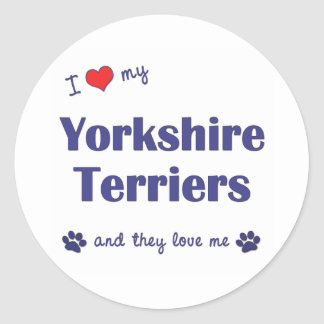 I Love My Yorkshire Terriers (Multiple Dogs) Round Sticker