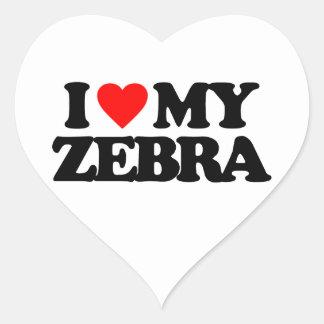 I LOVE MY ZEBRA HEART STICKER