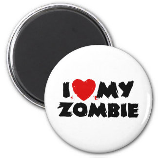 I Love My Zombie 2 Inch Round Magnet