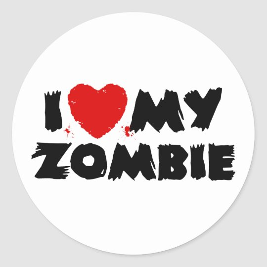 I Love My Zombie Classic Round Sticker
