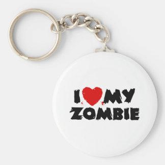 I Love My Zombie Basic Round Button Keychain