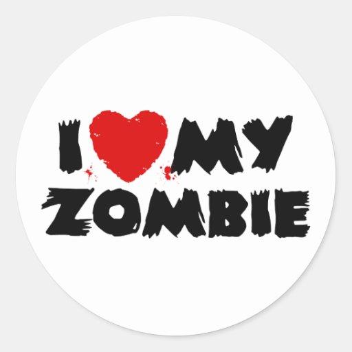 I Love My Zombie Round Sticker