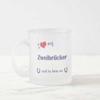 I Love My Zweibrucker (Male Horse) Frosted Glass Coffee Mug