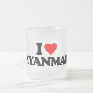 I LOVE MYANMAR 10 OZ FROSTED GLASS COFFEE MUG