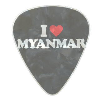 I LOVE MYANMAR PEARL CELLULOID GUITAR PICK