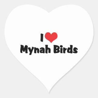 I Love Mynah Birds Heart Stickers