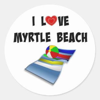 I Love Myrtle Beach Classic Round Sticker