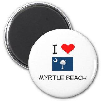 I Love Myrtle Beach South Carolina 2 Inch Round Magnet