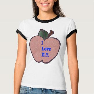I Love N.Y. Apple  Ladies Ringer Tee