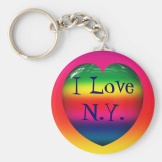 I Love N. Y. Rainbow Heart Keychain