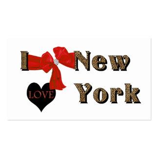 I LOVE  N.Y. Rhinestone Leopard Business Card
