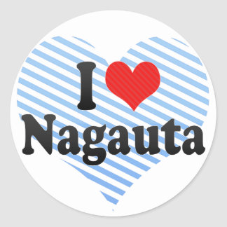 I Love Nagauta Classic Round Sticker