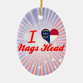 I Love Nags Head, North Carolina Double-Sided Oval Ceramic Christmas Ornament