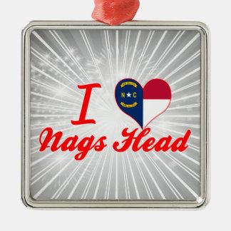 I Love Nags Head, North Carolina Square Metal Christmas Ornament