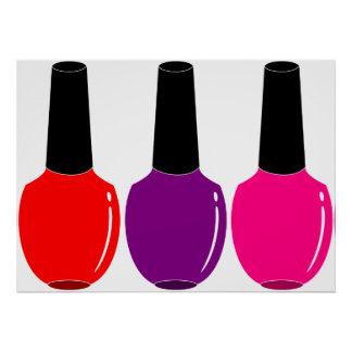 I Love Nail Polish Red Pink Purple Nail Polish Art Poster