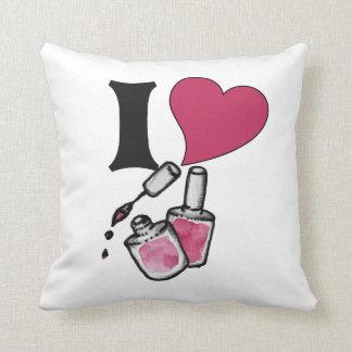 I love nail polish throw pillow