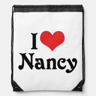 I Love Nancy Drawstring Backpack