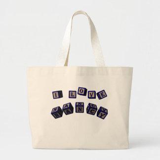 I love Nancy toy blocks in blue Bag