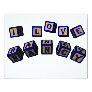 I love Nancy toy blocks in blue Card