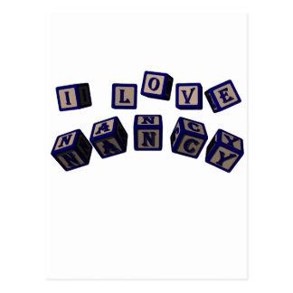 I love Nancy toy blocks in blue Postcard