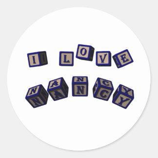 I love Nancy toy blocks in blue Stickers