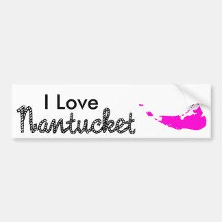 I Love Nantucket Black/Pink Car Bumper Sticker