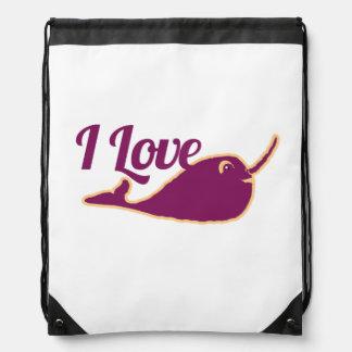 I love narwhal drawstring backpacks