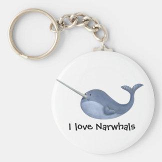 I love Narwhals Basic Round Button Keychain