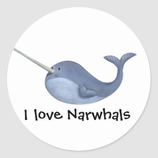 I love Narwhals Classic Round Sticker