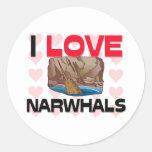 I Love Narwhals Round Sticker
